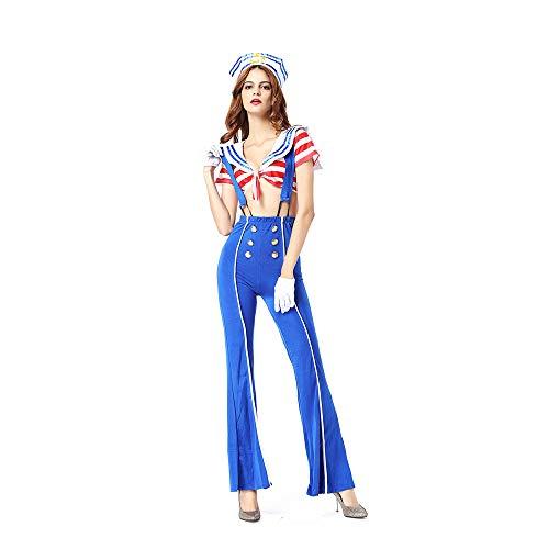 YCWY Sexy Sailor Captain Kostüm, Damen Nautical Doll Kostüm Retro Sailor Kleid für Hen Night Party 4 Stück (Sailor Doll Kostüm)