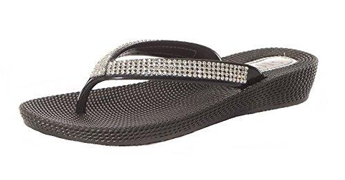 Damen mit Flach niedrig Keil Sommer Beach Evening Zehensteg Flip Flops Schuhe Sandalen Schwarz