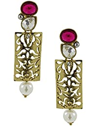 The Jewelbox Designer Filigree Ruby Red Kundan Polki Pearl Antique Gold Plated Earring For Women