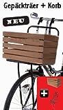 Fahrrad Gepäckträger + Korb Hollandrad vorne schwarz Fahrradkorb Hartholz-Korb
