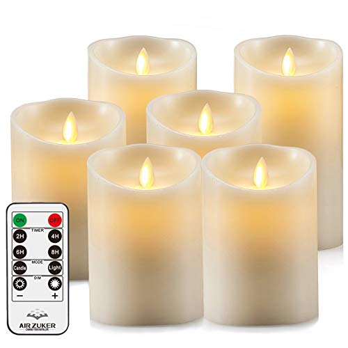 Air Zuker LED Kerzen Flammenlose 300 Stunden Kerzen Echtwachskerzen mit realistisch flackernde LED Flame mit C-Cell Batterie (Nicht enthalten), 6er Set