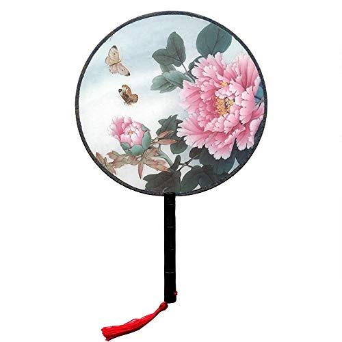 QIFUDEVS-HANDLE FAN Home Eleganter Vintager chinesischer Fan-Tanzen-Fan-traditioneller Malerei-runder Handfan-Frauen-Butike-Fan (Color : D) (Größe Halloween-kostüme 3x Womens)