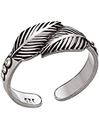 Feder Silber Ring Damen Verstellbar Filigran Feather Silberring Offen Bandring