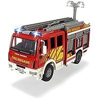 Dickie Toys 203717002 - Iveco Fire Engine, Feuerwehrauto mit Freilauf, mit Licht- und Soundfunktion, mit Wasserspritze, 30cm