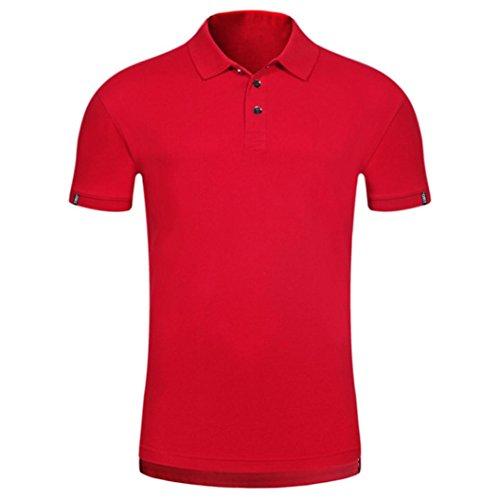 ASHOP Herren Poloshirt, Sommer Kurzarm Comfy Solid Polo Schmaler Knopf Bluse T-Shirt Top (XL, rot)