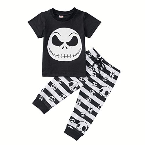 Das Wolverine Gelb Kostüm -  Romantic Halloween Kostüme Kinder Baby Schädel Gedruckt Kurzarm Jungen T-Shirt Top Kinder + Gestreift Karikatur Hosen 2er Set Kinder Halloween Kostüme Set für Karneval Party Halloween Fest