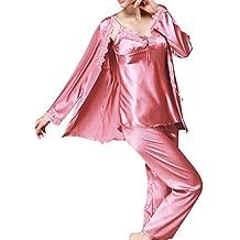 DianShao Mujer Pijamas 3-In-1 Camisones Satén Manga Larga Pantalones Satin Pijamas