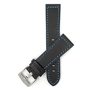 18mm – 24mm Leder Uhrenarmband, Schließe Edelstahl, Schwarz Mit Blauer, Schwarz Mit Rot, Orange, Grünen Oder Gelbe Naht