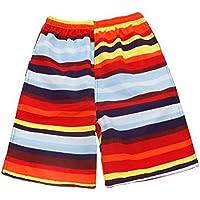 Pantalones de secado rápido a rayas Hombres Boardshorts Casual Pantalones cortos de vacaciones de playa sueltos Rojo