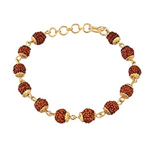 I Jewels Gold Plated Rudraksha Bracelet Rakhi for Brother/Bhaiya