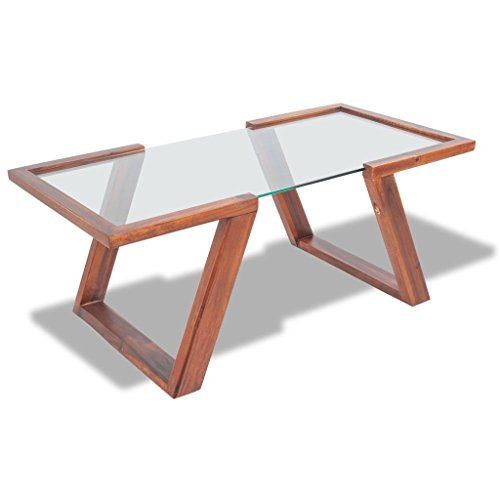 vidaXL Table Basse Table de Salon Bois d'acacia Massif Marron 100 x 50 x 40 cm