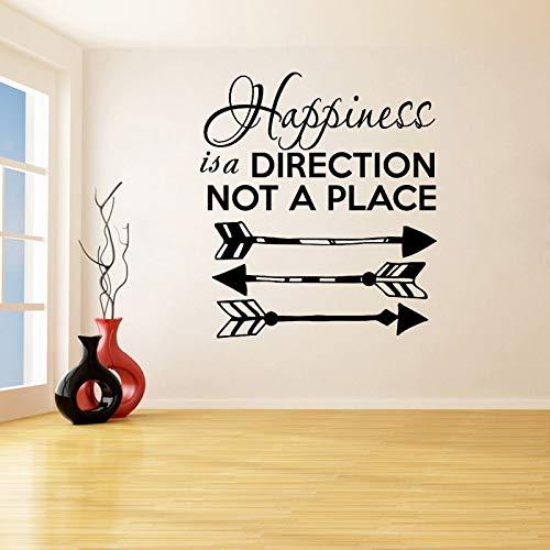 guijiumai Happiness is a Direction Not A Place Adesivi murali Rimovibili per Soggiorno Home Art Decor Decalcomanie in Vinile Camera da letto56X49CM