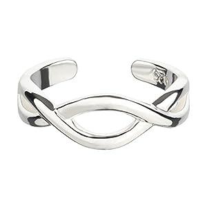 7K Zehenring aus 925 Sterling Silber als Fußschmuck für Damen, Herren und Mädchen, Größenverstellbar, Modell 27, Infinity 2