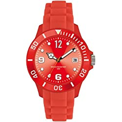 RED I-STYLE QUARTZ RUBBER SILICONE SPORTS WATCH UNISEX WITH DATE