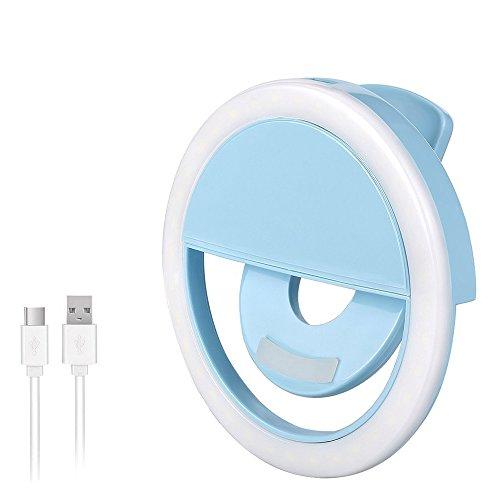 AURSTORE Selfie Light Ring,Selfie Anneau Lumière Rechargeable (Bleu)