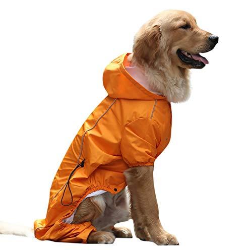 JKRTR Mode Large Dog Hooded Legs Regen- und wasserdichter Regenmantel für Haustiere(Orange,L)