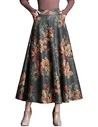 Damen Vintage Elegante Elastische Taille Gestreifter Plaid Wollrock Herbst  Winter Warm Röcke Mode Langen Hohe Taille 6ff86ae226