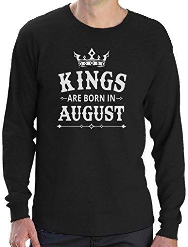 Geschenk Shirt für Mann - Kings are born in August Langarm T-Shirt Schwarz