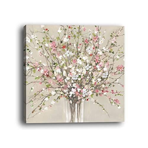 Wowdecor Cuadro de pared arte moderno lienzo impresiones – flores blancas Bud Plant Giclee imágenes impresas en lienzo, decoración de pared para el hogar, sala de estar, dormitorio – DIY marco, Small