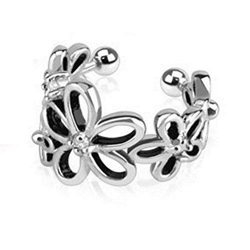 Bungsa orecchino ear cuff fiori argento ottone unisex