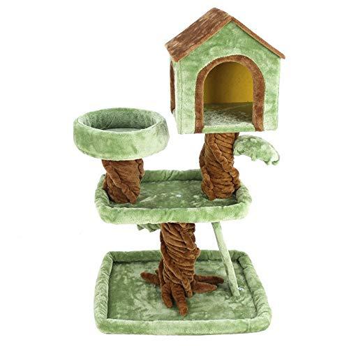 HUJPI Katzen Baum, Katze Nest Sisal Katzen Kratzbaum Katzen Turm Katzen möbel Kitten Aktivität Turm für die Wiedergabe von Relax and Sleep,Green_74*52 * 104cm