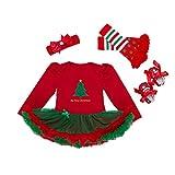 AFCITY Weihnachts Party Kostüm Weihnachtskostüm Overall Set 0-24 Monate Baby Mädchen 4psc Overalls, Socken, Schuhe und Kopfbedeckungen Kostüm Weihnachten Nikolauskostüm Weihnachtsmannko (Größe : M)