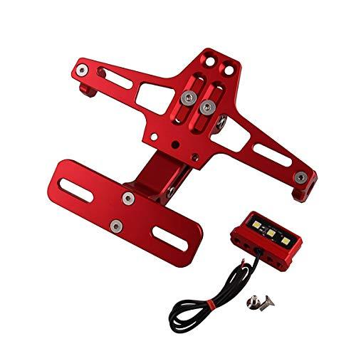 WFHhsxfh Motorrad Geändert Einstellbare Teleskop Aluminiumlegierung Nummernschild Universal Lenkung LED-Licht Nummernschild Halterung Motorrad zubehör Motorradzubehör (Color : Red)