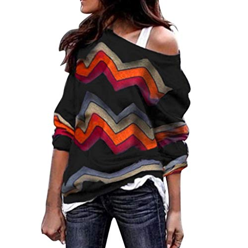 (GreatestPAK Damen Pullover Lange Ärmel Rundhals Farbabstimmung geometrischer Druck Oberteile Lang Geometrisch Bluse Sweatshirt Lässig)