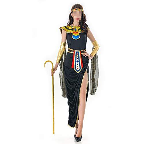 Damen Neue Halloween Kostüm Cosplay Alte Cleopatra Langes Kleid Maskerade Pharao Kostüm Griechische Göttin Spielt Kostüm (Color : Black)