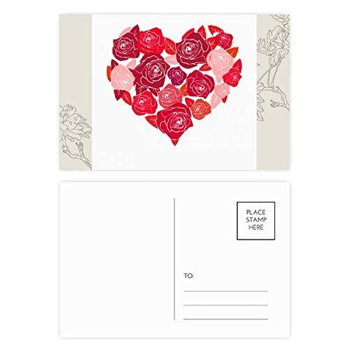 DIYthinker Rosa Herz-geformte Rosen Valentinstag Blumen-Postkarte Set dankt Karte Mailing Side 20pcs 5.7 Zoll x 3.8 Zoll Mehrfarbig