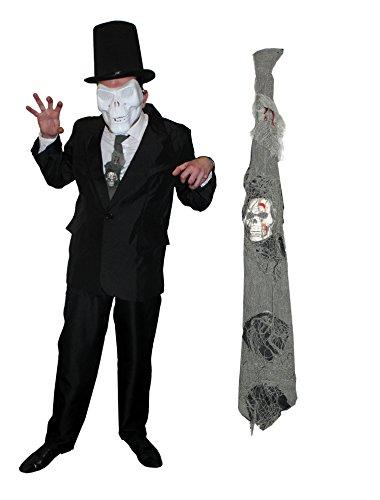 ILOVEFANCYDRESS Mister Tod KOSTÜM MR Death VERKLEIDUNGS=BEINHALTET-Weisse HARTPLASTIK Maske+GRAUE ZERISSENE 3D Krawatte Skull+Anzug+SCHWARZEN Zylinder=Horror GRUSEL Fasching Karneval=XLarge