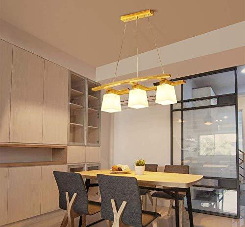 OOFAY LIGHT Kronleuchter aus Holz mit Glasschirm, Hängeleuchte Moderne Esszimmer Lampen, Pendelleuchte Dekoration Beleuchtung Licht, für Esstisch Küche Arbeitszimmer, E27 3 Flammig, K -