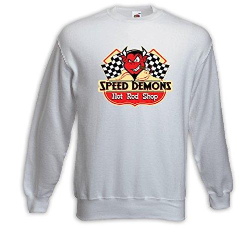 Hot Rod Pullover Speed Demons Shop weiß Vintage Rockabilly V8 Rat Weiß