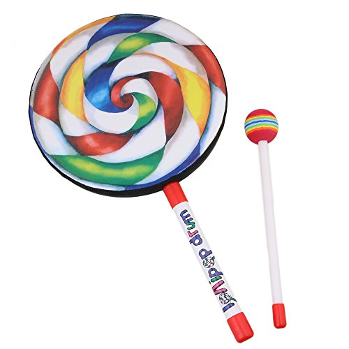 Lollipop Drum with Rainbow Color Music Rhythm Instruments Kids Playing Toy