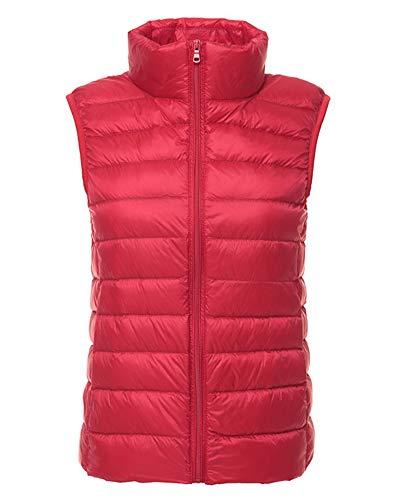 Mujer Ultraligero Chaleco Portátil de Plumón Cremallera Sin Mangas Ligero Plegable de Abrigo de Invierno Rojo L