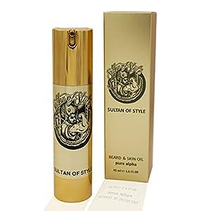 Sultan of Style – Premium Bartöl 45ml – pure alpha INTENSIV – 3 in 1 – NEU BARTPARFÜM – ersetzt Parfum, pflegt Bart und Haut – sechs erlesene Öle – das flüssige Gold – Made in Germany