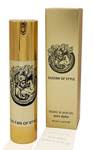 Sultan of Style - Premium Bartöl 45ml – pure alpha INTENSIV - 3 in 1 – NEU BARTPARFÜM - ersetzt Parfum, pflegt Bart und Haut – sechs erlesene Öle – das flüssige Gold – Made in Germany