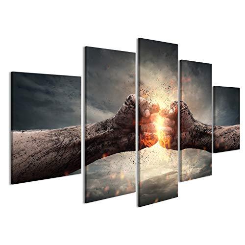 islandburner Bild Bilder auf Leinwand Zwei Fäuste Motivation Engergie Poster, Leinwandbild, Wandbilder