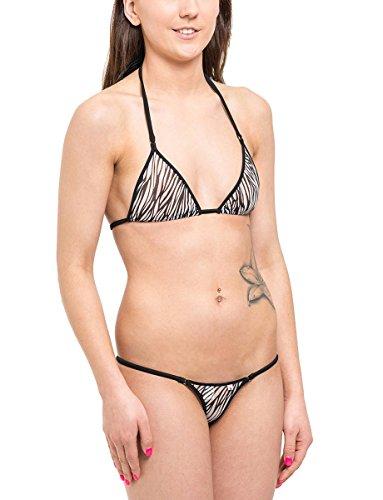 SKINSIX Damen Bikini-Set mesh Zebra, 2-tlg: bwu130 Mini-String S und bwo180 Oberteil M