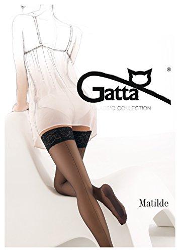 Gatta Matilde - klassisch-elegante, verführerische, halterloser Strümpfe mit Naht - Stay-Ups - Größe 1-2 / XS-S - Schwarz (Ups Satin Stay)