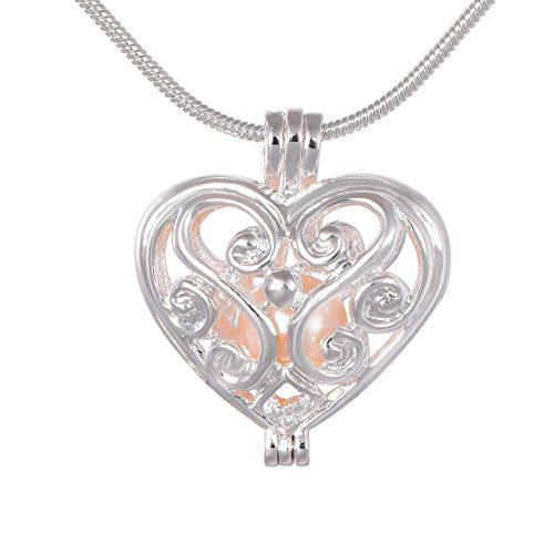 Love Herz Medaillon Perle Käfig 925Silber Ton Halskette Anhänger Süßwasser-Zuchtperle Perlen in Oyster Geschenk Charms Kette 45cm