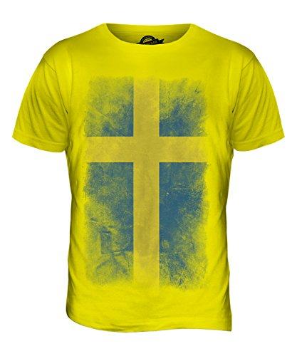 CandyMix Schweden Verblichen Flagge Herren T Shirt Zitronengelb