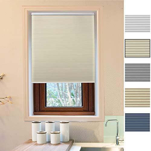 Allesin Zellular-Jalousie mit Einer Zelle, Plissee für Fenster, kabellos, einfach anzuheben, verdunkelnd, für Innen- und Außenbereiche 34 x 36 White Beige (Privacy & Light Filtering) Zellulare Systeme