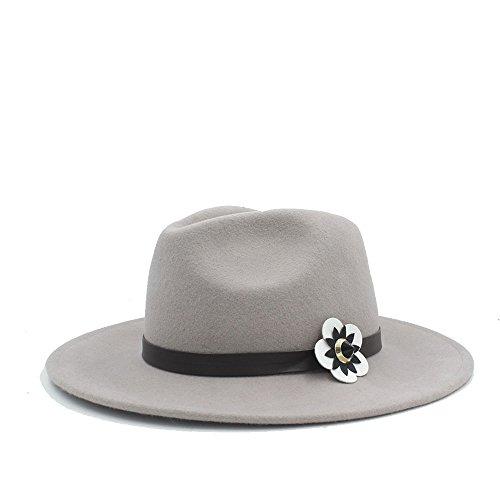 BAM - Hüte Breiter Sonnenhut, 100% Australien Wolle Frauen Fedora Hut mit Cortex weiße Blumen Für Frauen (Farbe : 1, Größe : 57-58 cm)
