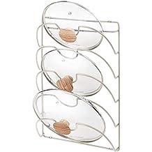 mDesign Soporte de pared vertical para utensilios y menaje de cocina – Práctico organizador de tapas