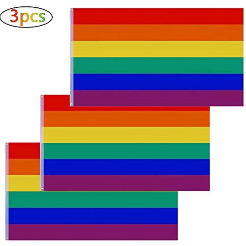 Betoy 3 pcs flag bandiera arcobaleno - bandiera gay - rainbow flag 90 x 150 cm-bandiera pace-rainbow flags gay lesbian peace flag per le celebrazioni del gay pride