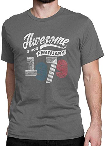 Fantastisch seit Februar 1979 Vintage T Shirt 40. Geburtstag Tops Tees für Männer, Medium, Deep Heather -