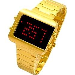 "LED Uhr ""Lavenda""Goldfarbend mit LED-Animation Redlight W-182"