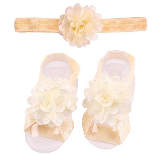 Ouneed® 1 set Bebe Toddler Chaussures Ete sansales Floral en Dentelle + Bandeau (Noir) Kaki