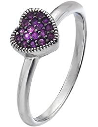 Virtue Silver Stackable VRS6004 Fine Silver Ring with Multi Pink Cubic Zirconia Heart Crown